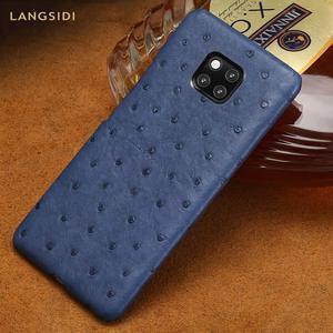 Image 1 - אמיתי יען עור טלפון מקרה עבור Huawei P30 לייט P20 P40 פרו mate 20 Nova 5t P40 Lite Mate 20 lite P20 Lite P30 Pro Y9 Y7 P SMART 2019 לייט Y7 יוקרה חזרה כיסוי עבור כבוד 8X 20 פרו 10 20i