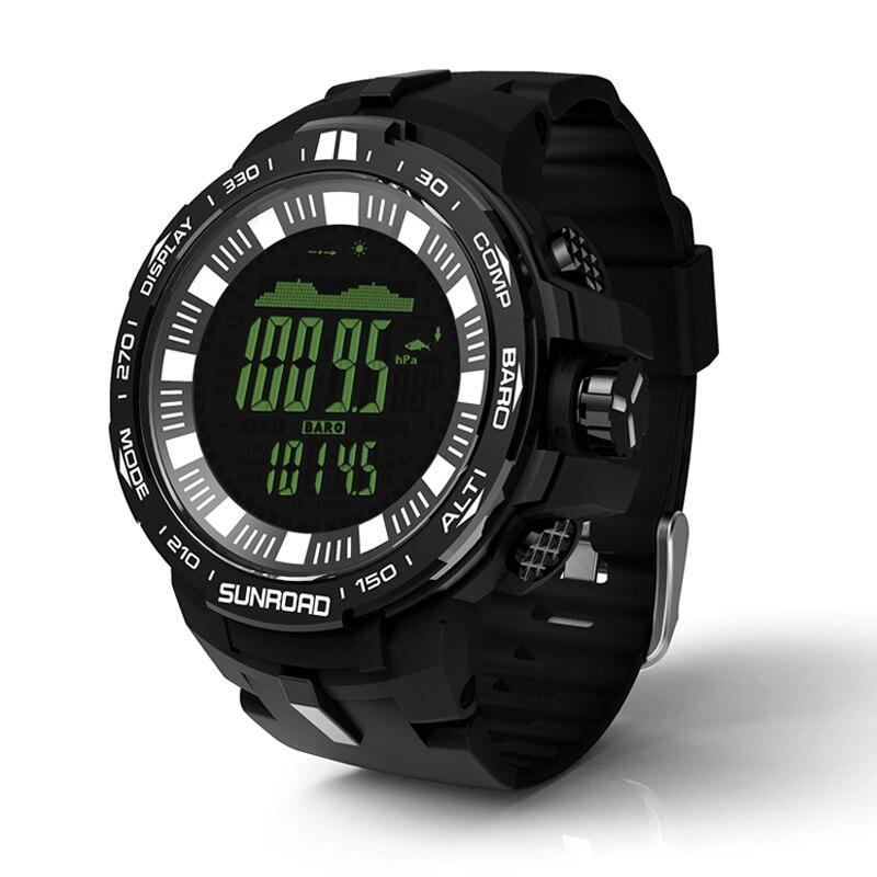 SUNROAD новый для мужчин цифровые часы FR861B-Waterproof открытый барометр компасы высотомер температура Relogio спортивные часы (черный)