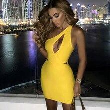 مقاس كبير XL XXL أحدث مثير كتف واحد أصفر رايون ضمادة فستان 2020 محبوك مطاطا أنيق فستان الحفلات