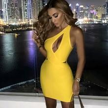 Плюс размер XL XXL новейшее Сексуальное желтое вискозное Бандажное платье на одно плечо 2020 вязаное эластичное элегантное вечернее платье