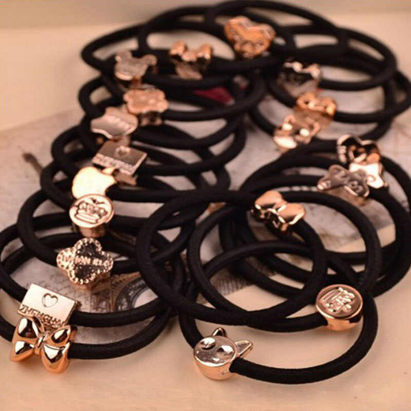 10 Pcs New Korean Fashion Women Hair Accessories Cute Black Elastic Hair Bands Girl Hairband Hair Rope Gum Rubber Band E10093