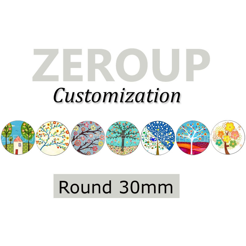 ZEROUP Professional customized services 30mm round pictures glass cabochon mixed patterns jewelry components 54pcs/lot