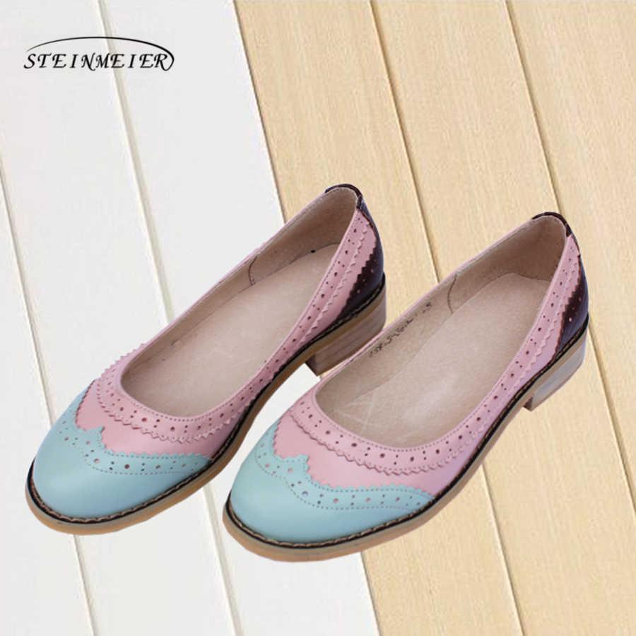 Kadın düz yaz rahat oxford ayakkabı 100% hakiki inek derisi deri nefes düz yuvarlak ayak el yapımı retro brogue gümüş ayakkabı