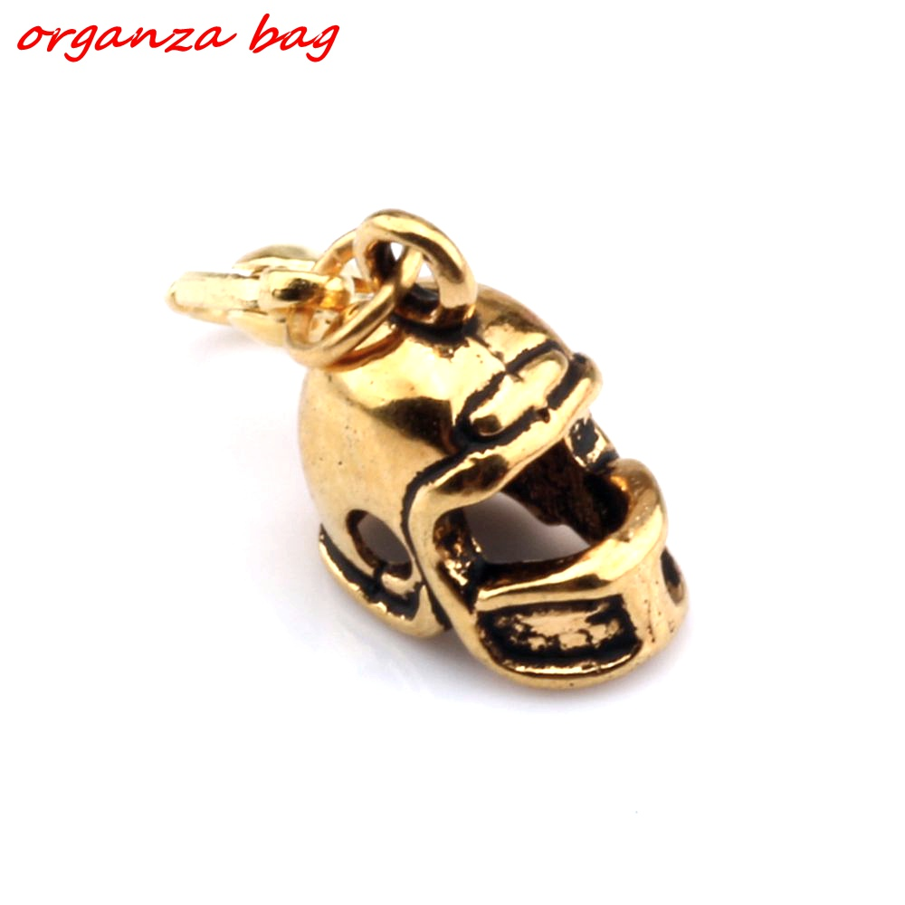 Hot Sell ! 10pcs Antique Gold 3D Small Football Helmet Charms With lobster clasp Fit Charm Bracelet DIY Jewelry 12x27mm nm341