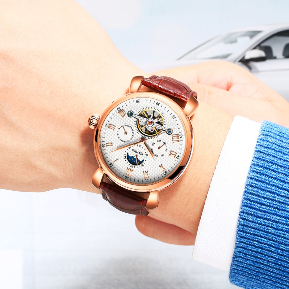 KINYUED Fashion Watch Men Mechanical Automatic Skeleton Mens Wristwatches Top Brand Luxury Calendar Tourbillon Montre Homme forsining full calendar tourbillon auto mechanical mens watches top brand luxury wrist watch men erkek kol saati montre homme