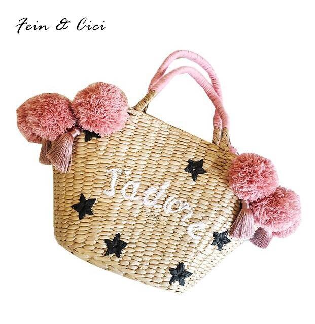 beach bag straw basket totes bag bucket summer bags with tassels pom pom women handbag 2017 new arrivals summer high quality