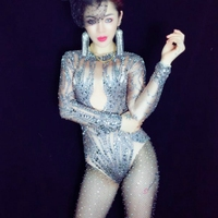 Sexy Stage Bodysuit Sparkly Rhinestones Jumpsuit Women for Christmas Celebrate Nightclub Clothing Performance Stage Costumes