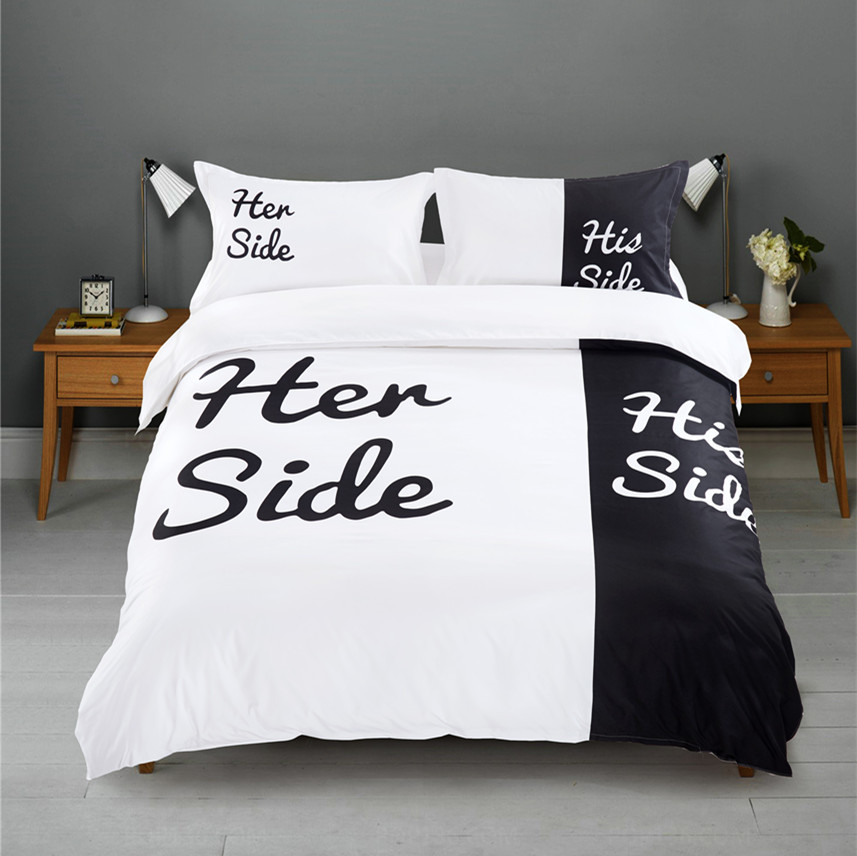 black white her side his side bedding sets queen king size double bed 3pcs 4pcs bed linen. Black Bedroom Furniture Sets. Home Design Ideas