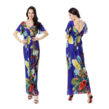Women Plus Size Dress Summer Fashion Bohemian Beach Print Contrast Color Dress Sexy Deep V Neck Backless New Maxi Dresses 6XL
