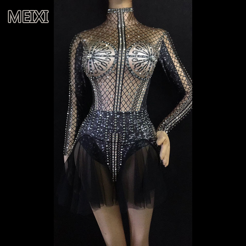 Sparkly Black Sexy Hollowed-out Gauze Dress Rhinestone Stretch Dress Bar Nightclub Concert Singer Dancer Costume