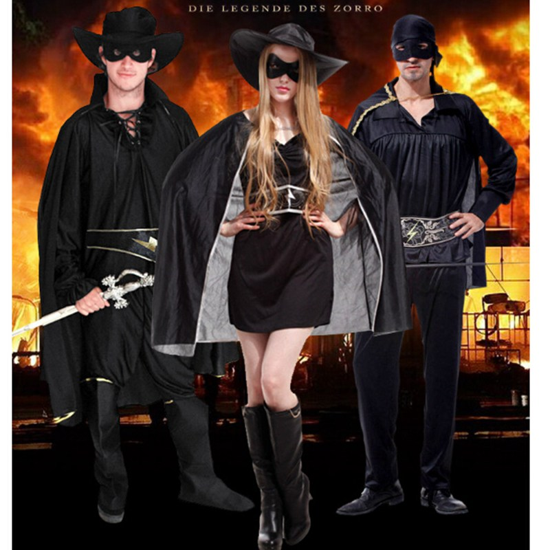 Costume d'halloween fête spectacle adulte zorro costume pour cosplay costume couvre vêtements cape