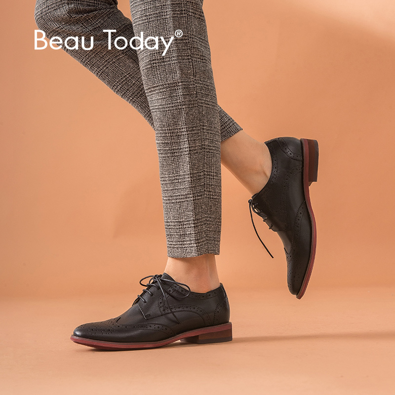 BeauToday Brogue Shoes Women Wingtip Oxfords Sheepskin Genuine Leather Cross-Tied  Round Toe Black Lady Flats Large Size 2102410