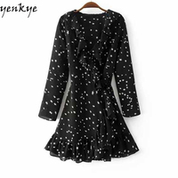 White Star Printed Summer 2017 Seersucker Ruffle Dress Women Cross V Neck Long Sleeve With Belt