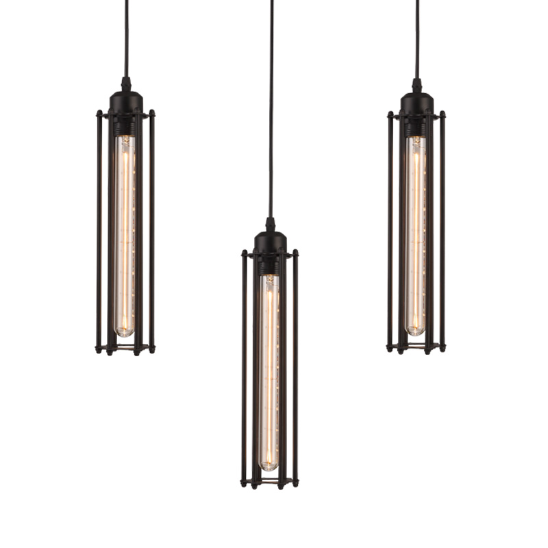 Nordic Industrial Style Metal Material Interior Pendant Light Cage Balck Hanging Lamp Lighting Fixture For Hotel Room linear interior lighting pendant lighting for restaurants industrial style pendant lighting hanging light single pendant lamps
