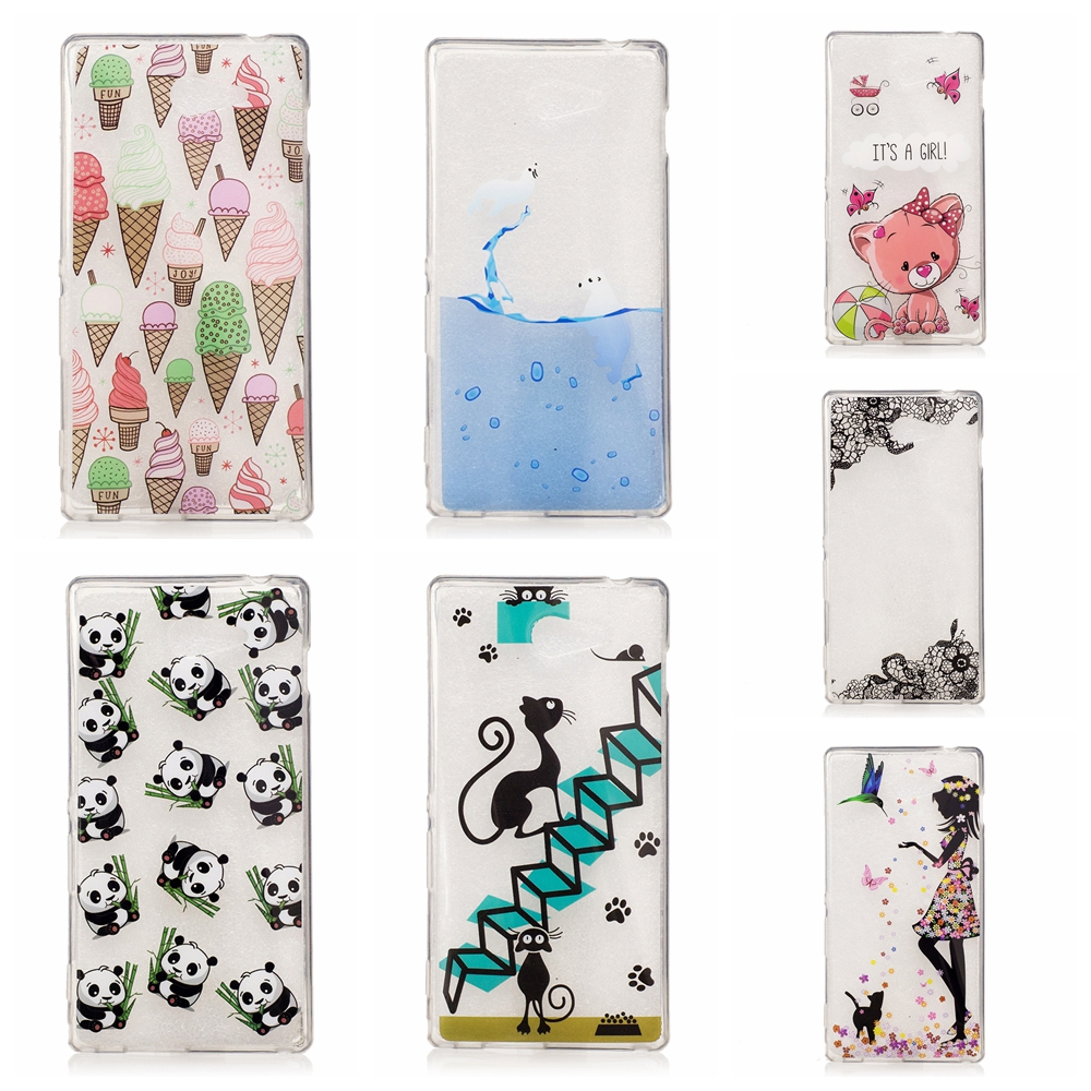 Cute Icecream feather cat dolphin panda patterns Soft tpu Phone Case Coque For Sony Xperia M2 phone case