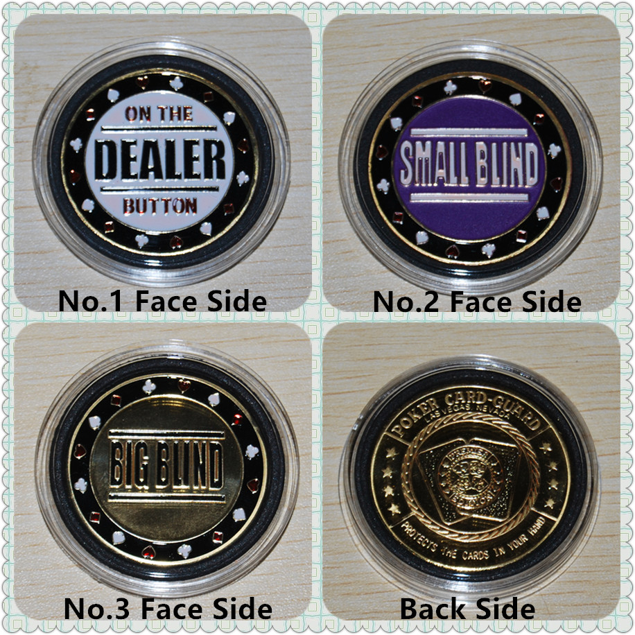 Good Souvenier,Metal Token Coin Small Blind Big Blind Dealer,Poker Chips Cards Guard Protector,3pcs/lot free shipping