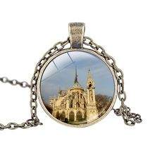 3pcs/lots Notre Dame Cathedral Necklaces Jewelry European Gothic Art Building Memorial Pendant T-6