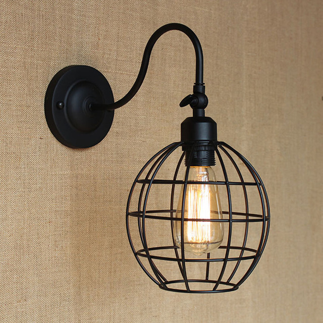 modern LOFT black ball metal country adjust wall lamp for Bar ...