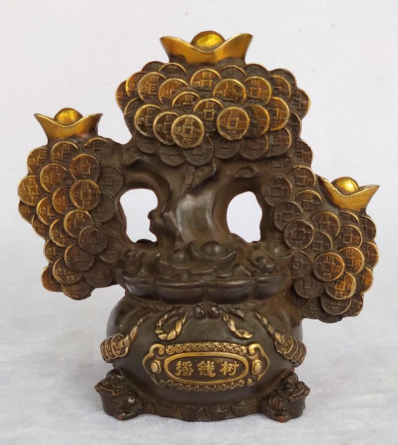 High 20 CM /8 INCH Collection Chinese Old Handmade Gilt Bronze Money Tree Sculpture home feng shui decoration tree statue