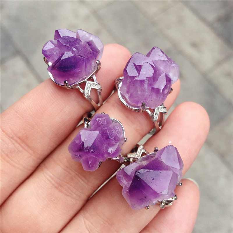 Natural Stone <font><b>Raw</b></font> Ore amethyst <font><b>ring</b></font> Jewelry Irregular Women Jewelry Making 1pcs image