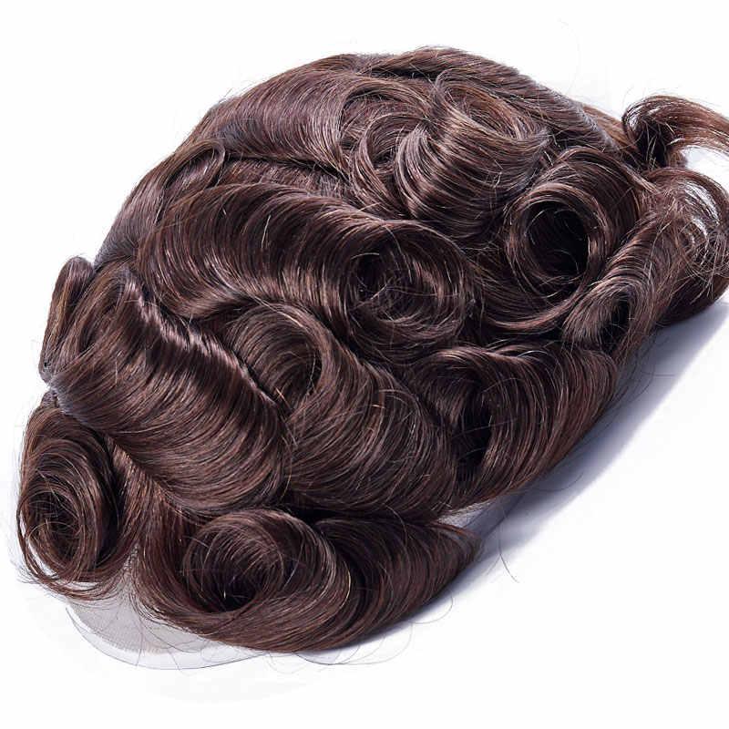 Ali queen волосы полностью кружевные мужские парик индийский волос Remy сменная система 8x10 дюймов человеческие волосы французские кружевные шиньоны