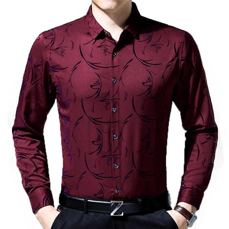 2017 Larga Fit Negocios Ropa wine 8637 Hombres Jersey Social Slim Camisa Floral Navy Vestido Marca Camisas Casual Manga Los Masculina De purple Moda 7Xw7q0r