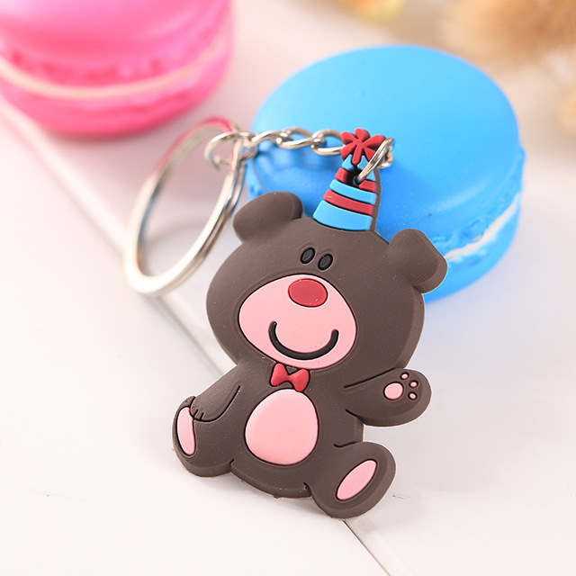 Wholesale Cute Keychain Rubber Key Chain PVC Cartoon Key Ring Creative Couple Key Bag Pendant Gift For Women Children Student 5