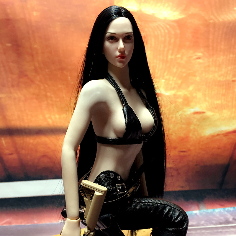 Mnotht 1/6 Female Head Carving White Muscle Solider Carved Head Model Fit For White Skin/Black Hair Rubber Steel Glue Body l30 die shi spot burning the soul of a model burns 1 6 head carved figures are base contains mask