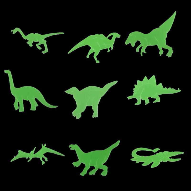 9 шт. флуоресцентный динозавров Наклейки потолок холодильник Настенный декор Малыш Игрушечные лошадки подарок