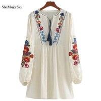 SheMujerSky Embroidery Women Dresses Boho Cotton 2017 Summer Dress White Tassel Short Female Dresses Vestidos