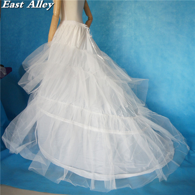 Plus size 2 Hoops Ivory White Black Wedding Gown Train Petticoat ...