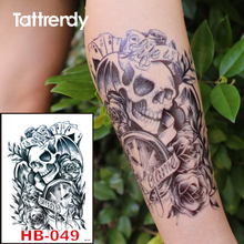 Black Ink Temporary Tattoos Death Skull Rose Clock Waterproof Tattoo Stickers On Body Arm Sleeve Fake Flash Tattoo For Men HB049