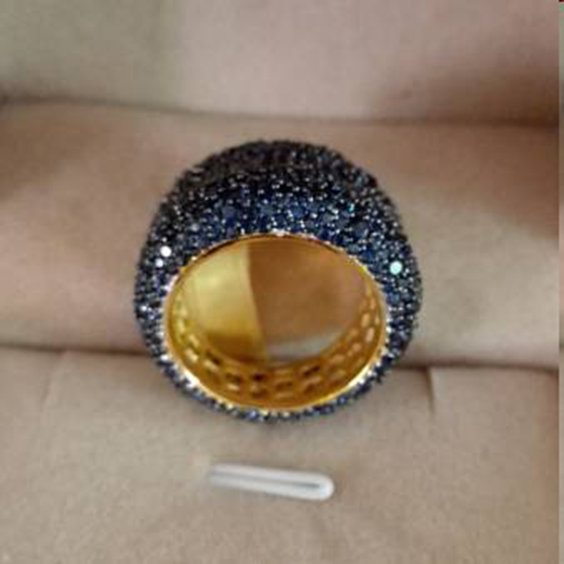 Qi Xuan_Fashion jewelry_роскошная микро мощеная синяя каменная пальчиковая кольцо_ S925 Твердые серебряные модные кольца_ Прямая с фабрики