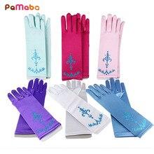 PaMaBa детские перчатки Принцесса Эльза Анна аксессуары для косплея перчатки с принтом длинные пальцы перчатки для девочек Снежная королева парчовые перчатки