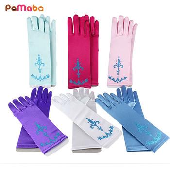 PaMaBa rękawiczki dla dzieci księżniczka Elsa Anna Cosplay akcesoria rękawiczki drukuj długie palce dziewczyny rękawice królowa śniegu brokat rękawice tanie i dobre opinie MUABABY Dziecko dziewczyny Poliester Brocade Gl-02 About 24cm 2-7 Years Old Girl Princess Cosplay Accessories
