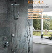Ensemble de robinets de douche avec douchette à main, Design de marque de luxe, rond en acier inoxydable de 8-10-12-16 pouces