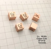 Pure 99.95% Cu Copper Cube Block Bulk Periodic Table of Rare Earth Metal Elements for Research lab industrial Collection