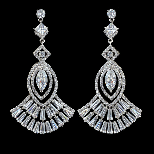 Sparkling Luxury AAA Cubic Zirconia Drop Earrings For