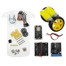 2wd rc wifi akıllı araç kiti L293D tarafından ESP 12E için esp8266 esp 12e diy rc oyuncak uzaktan kumanda ile telefon lua nodeMCU + motor kalkanı + araba