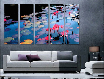5P 100% hand painted huge wall art oil painting on canvas  lotus ponds  free shipment no framed