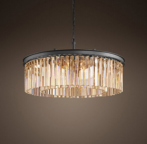 American Loft Retro Round Crystal Pendant Lights LED Light Fixtures For Living Dining Room Hanging Lamp Indoor Lighting Lamparas a1 master bedroom living room lamp crystal pendant lights dining room lamp european style dual use fashion pendant lamps