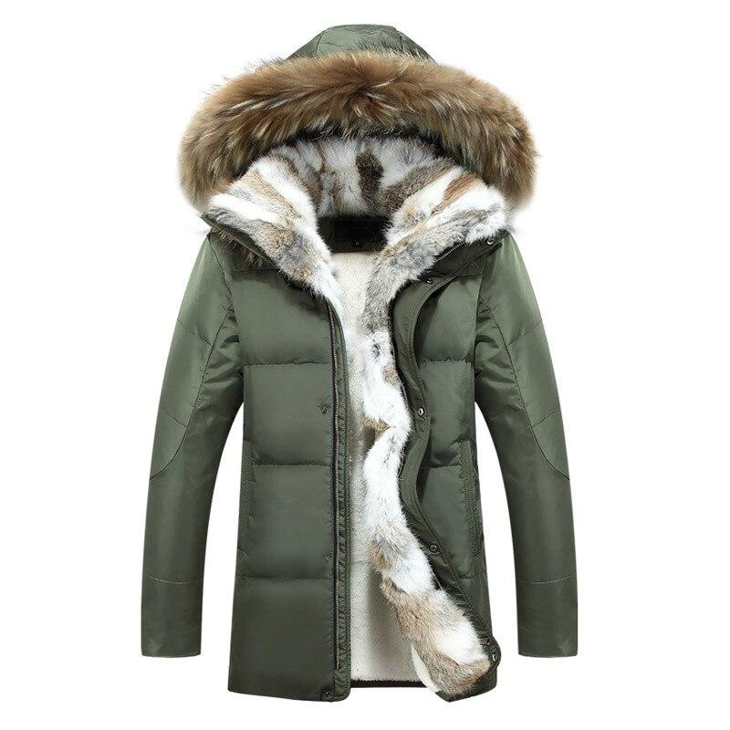 2017 зима новый стиль Для мужчин для отдыха Мода утолщение капюшоном кроличьим мехом пух ...