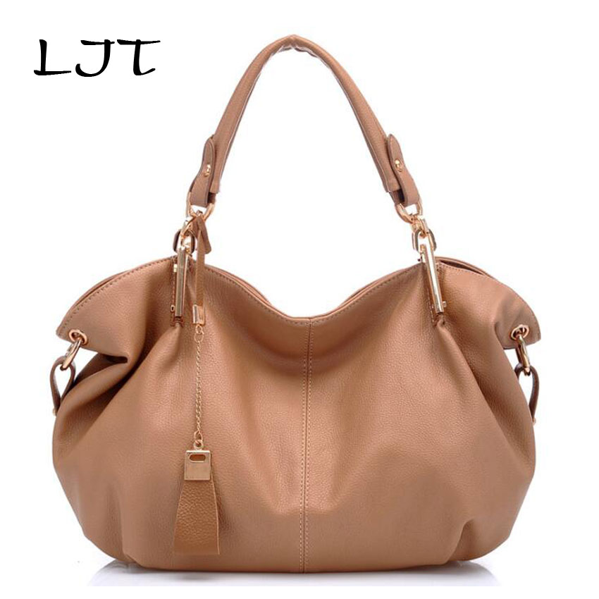 LJT Women Leather Shoulder Bag High Quality Artificial Leather Ladies Hobo Handbags Female Large Capacity Tote Bag sac a main