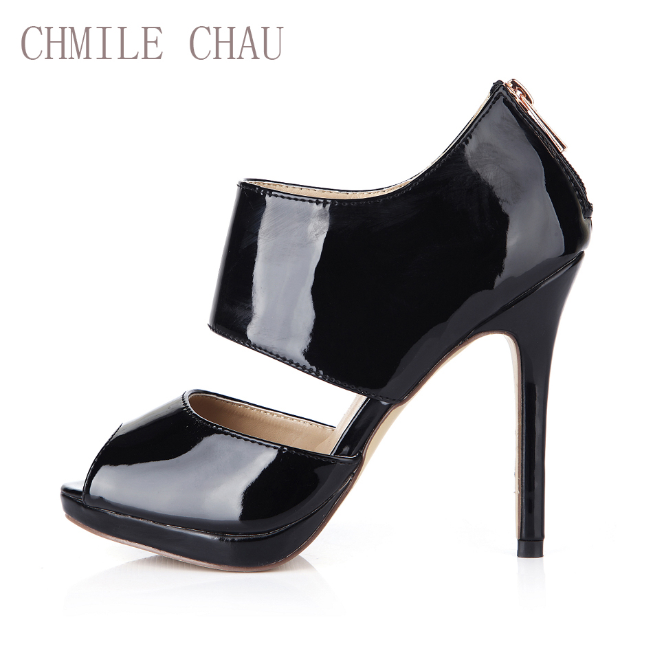 CHMILE CHAU Patent Sexy Party Shoe Women Peep Toe Stiletto Super High Heel Zipper Lady Pumps Plus Size 9 Zapatos Mujer 0640A 11a in Women 39 s Pumps from Shoes