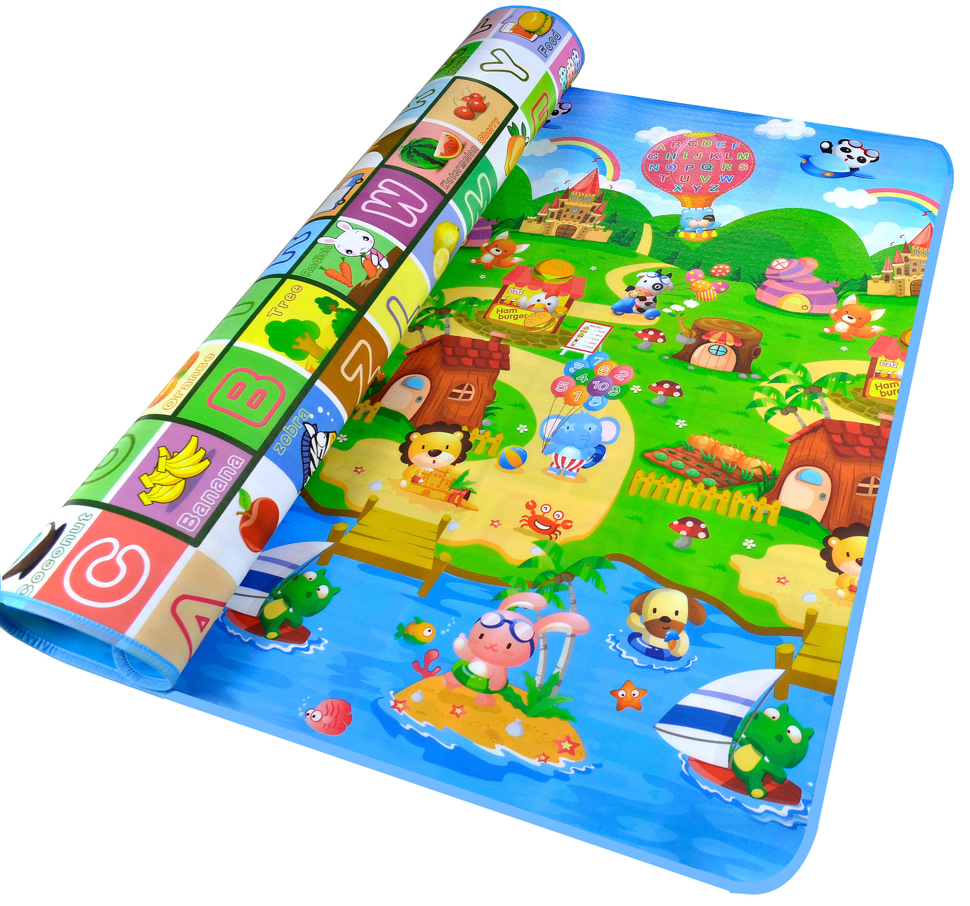 Double Sided Baby Crawling Pad, Thin Type Portable Game Mat, Sponge Foam Cushion,Letters With A Picture Of A Farm Picnic Mat