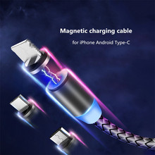 Magnetic USB Charge Cable Magnet Charger Cord LED Lighting For iPhone XS Max XR Quick Data Charging