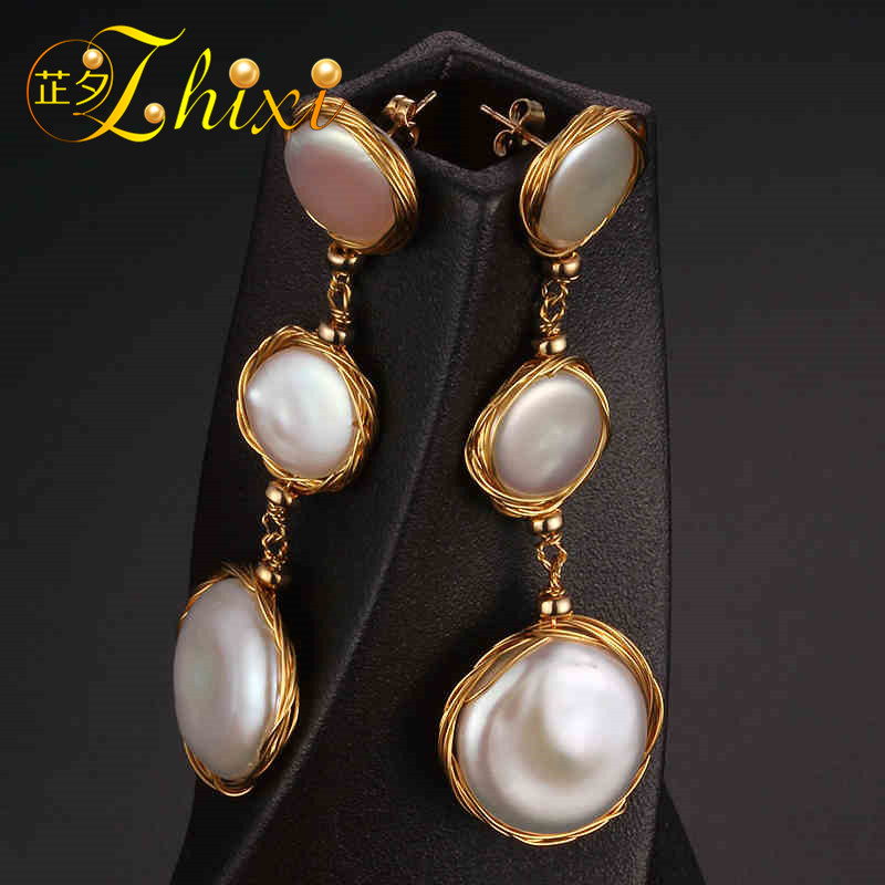 [ZHIXI] Long Pearl Earrings Fine Jewelry Big Natural Baroque Pearl Drop Earrings For Women 2018 Fashion Gift For Party XE206 [zhixi] freshwater pearl earrings for women fine jewelry big pearl earrings gold drop irregular fashion gift for party eb224