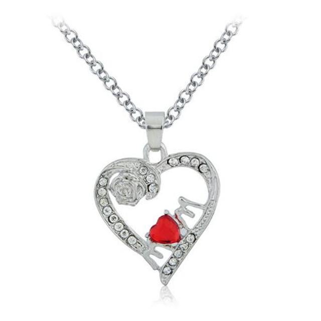 Gift For Mother's Day Crystal Heart Pendant Necklace Red Heart Crystal MOM  Hollow Heart with Carved Rose Necklace For Mum
