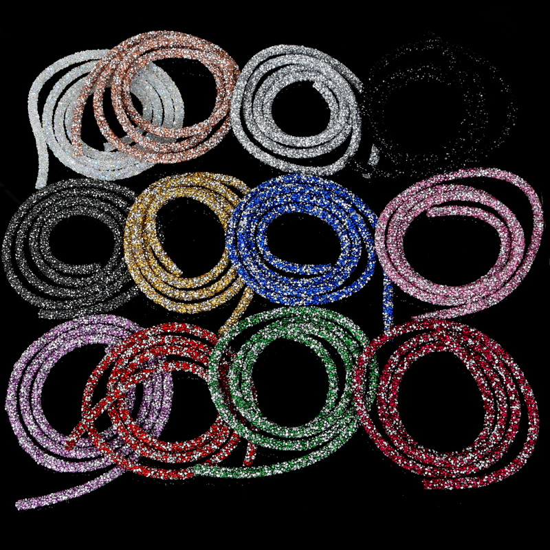 1m/lot 7mm Soft Tube Jewelry Cord Rope String With Resin Crystal Rhinestone Trim Wire For DIY Necklace Bracelet Jewelry Making