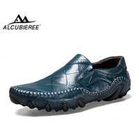 ALCUBIEREE Brand Mens Genuine Leather Loafers Men Fashion Handmade Moccasins Shoes Male Comfortable Driving Shoes Men Boat Shoes